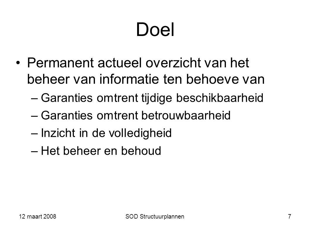 12 maart 2008 Doel. Permanent actueel overzicht van het beheer van informatie ten behoeve van. Garanties omtrent tijdige beschikbaarheid.