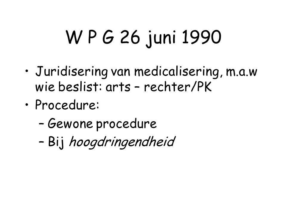 W P G 26 juni 1990 Juridisering van medicalisering, m.a.w wie beslist: arts – rechter/PK. Procedure: