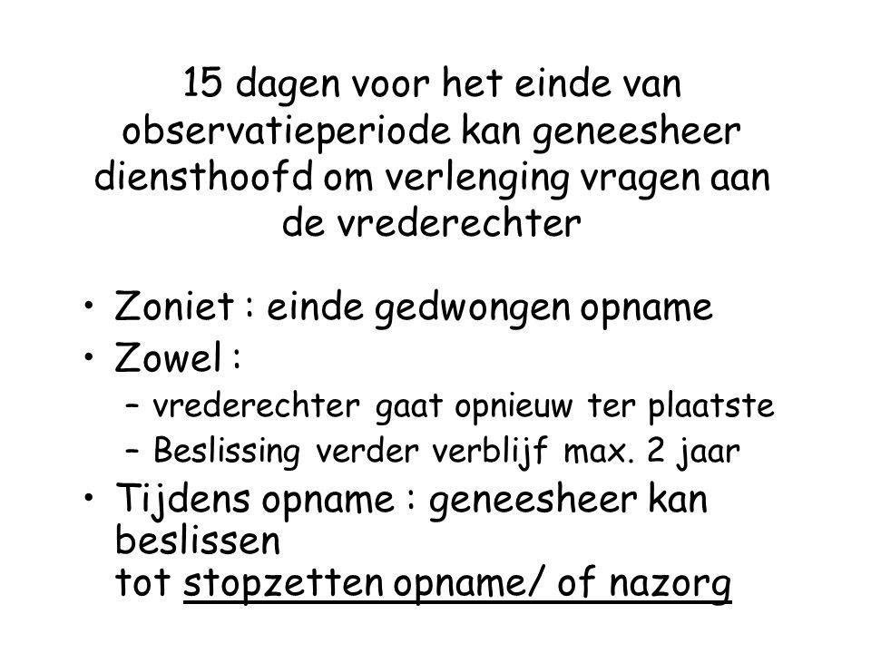 Zoniet : einde gedwongen opname Zowel :
