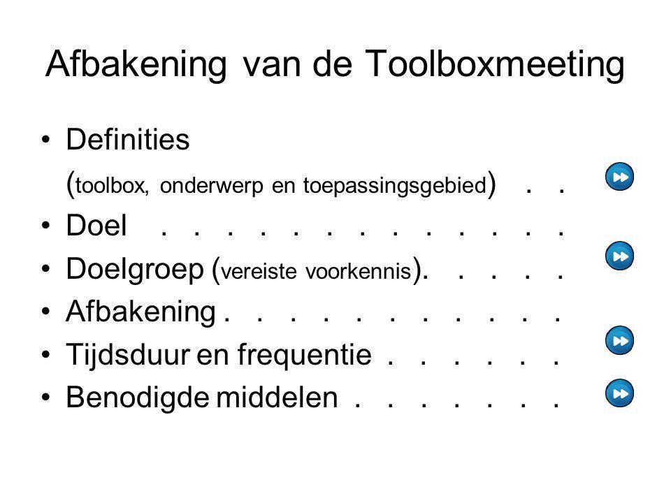 Afbakening van de Toolboxmeeting