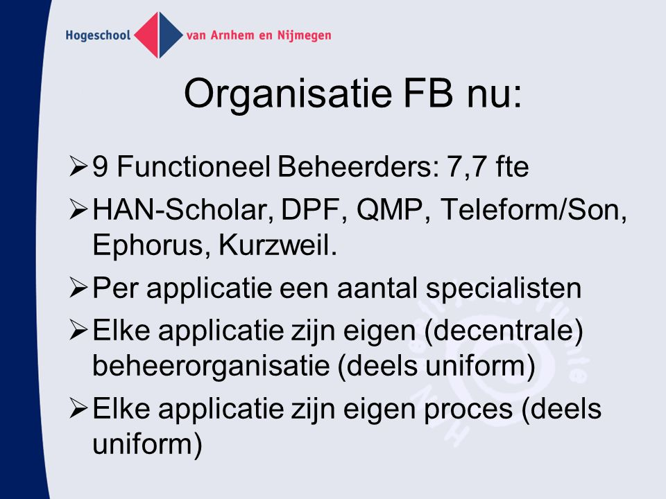 Organisatie FB nu: 9 Functioneel Beheerders: 7,7 fte