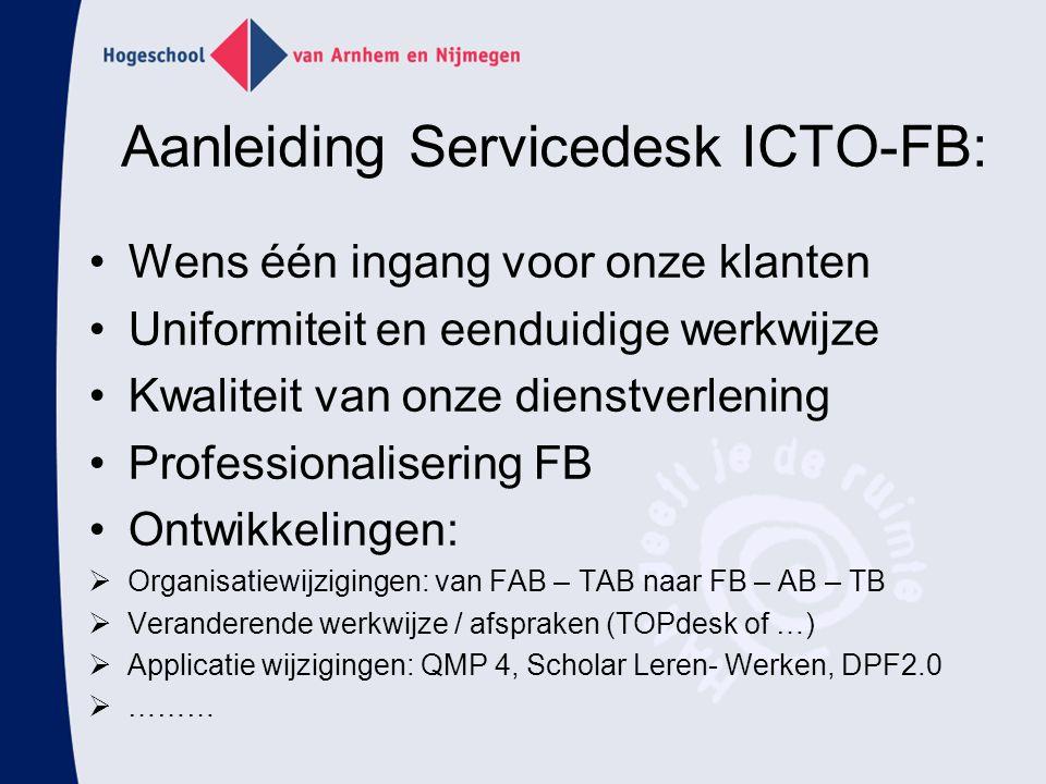 Aanleiding Servicedesk ICTO-FB: