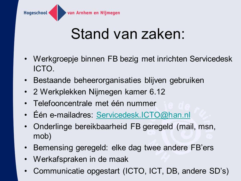 Stand van zaken: Werkgroepje binnen FB bezig met inrichten Servicedesk ICTO. Bestaande beheerorganisaties blijven gebruiken.