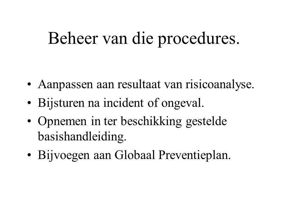 Beheer van die procedures.
