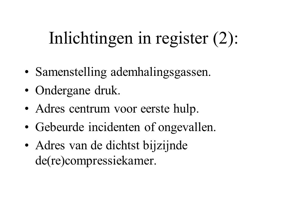 Inlichtingen in register (2):