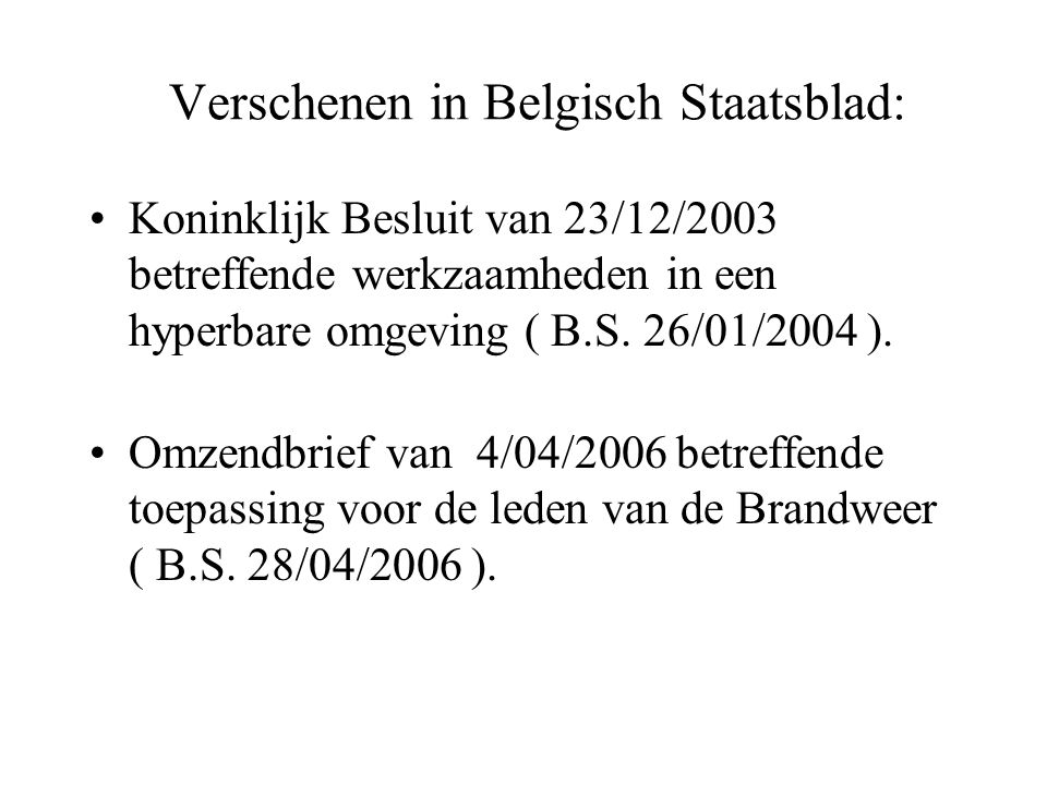 Verschenen in Belgisch Staatsblad: