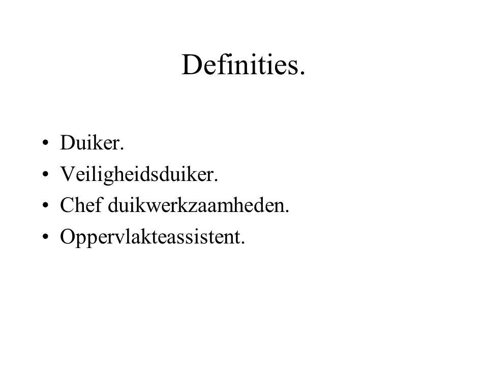 Definities. Duiker. Veiligheidsduiker. Chef duikwerkzaamheden.