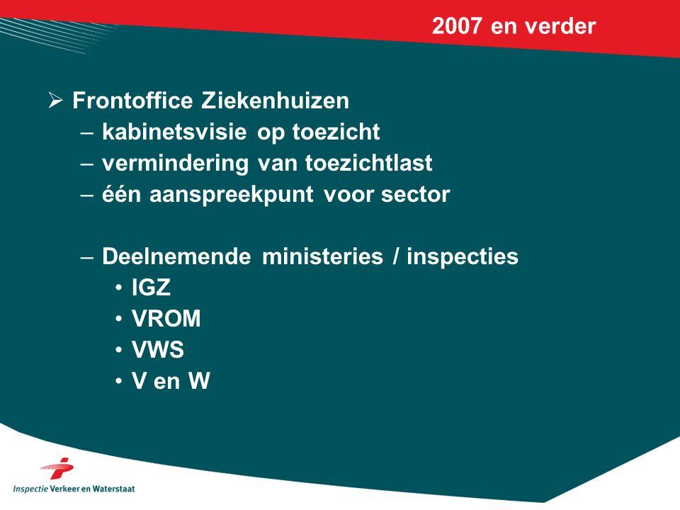 2007 en verder Frontoffice Ziekenhuizen. kabinetsvisie op toezicht. vermindering van toezichtlast.