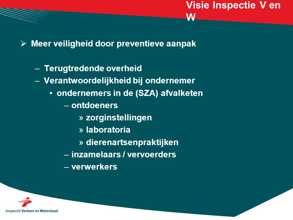 Visie Inspectie V en W Meer veiligheid door preventieve aanpak