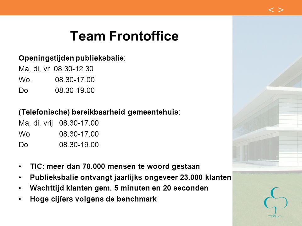 Team Frontoffice Openingstijden publieksbalie: Ma, di, vr 08.30-12.30