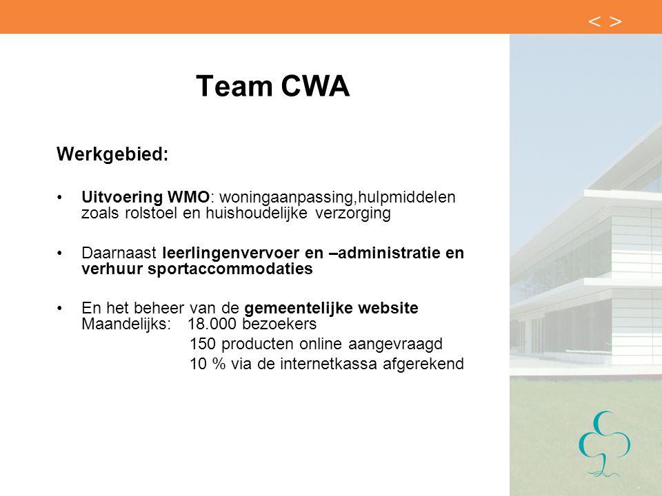 Team CWA Werkgebied: Uitvoering WMO: woningaanpassing,hulpmiddelen zoals rolstoel en huishoudelijke verzorging.