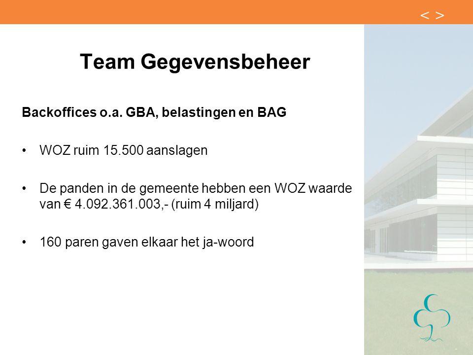 Team Gegevensbeheer Backoffices o.a. GBA, belastingen en BAG