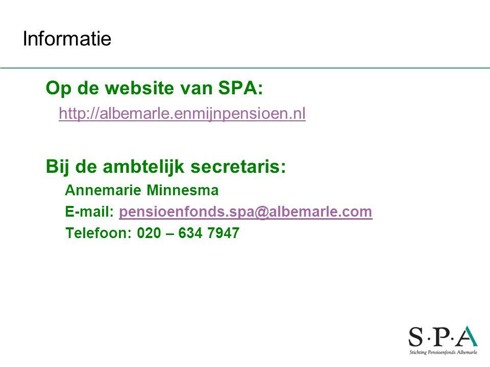 Informatie Op de website van SPA: Bij de ambtelijk secretaris: