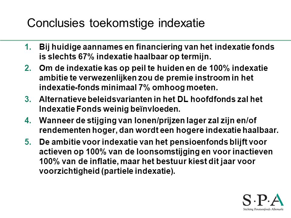 Conclusies toekomstige indexatie