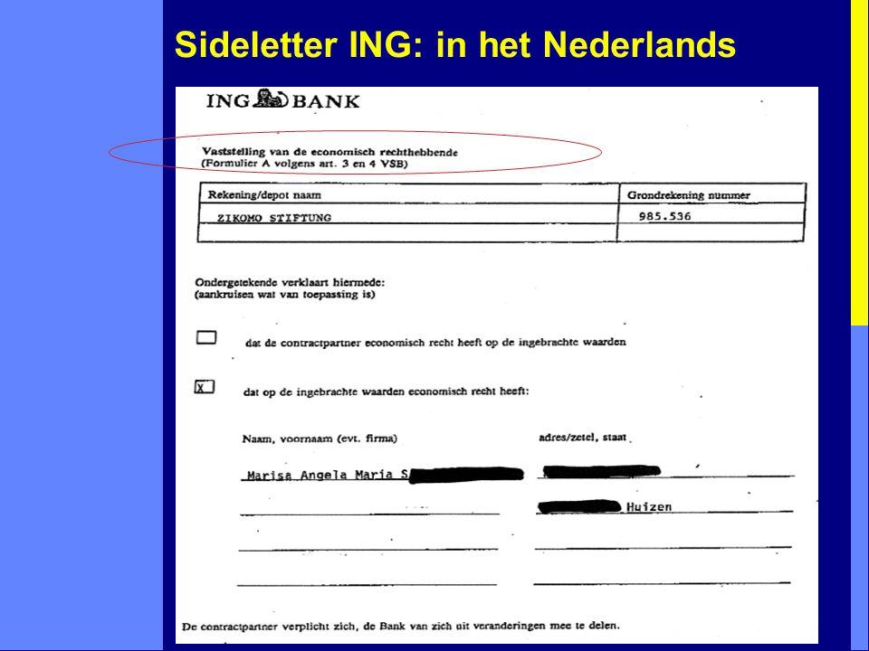 Sideletter ING: in het Nederlands ...