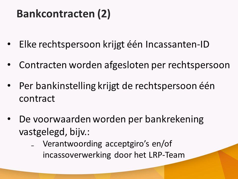 Bankcontracten (2) Elke rechtspersoon krijgt één Incassanten-ID