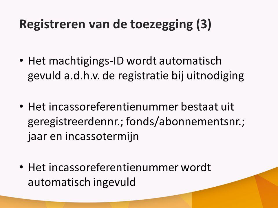 Registreren van de toezegging (3)