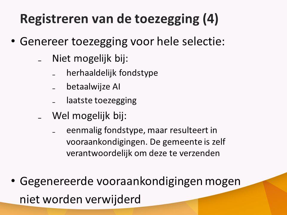 Registreren van de toezegging (4)