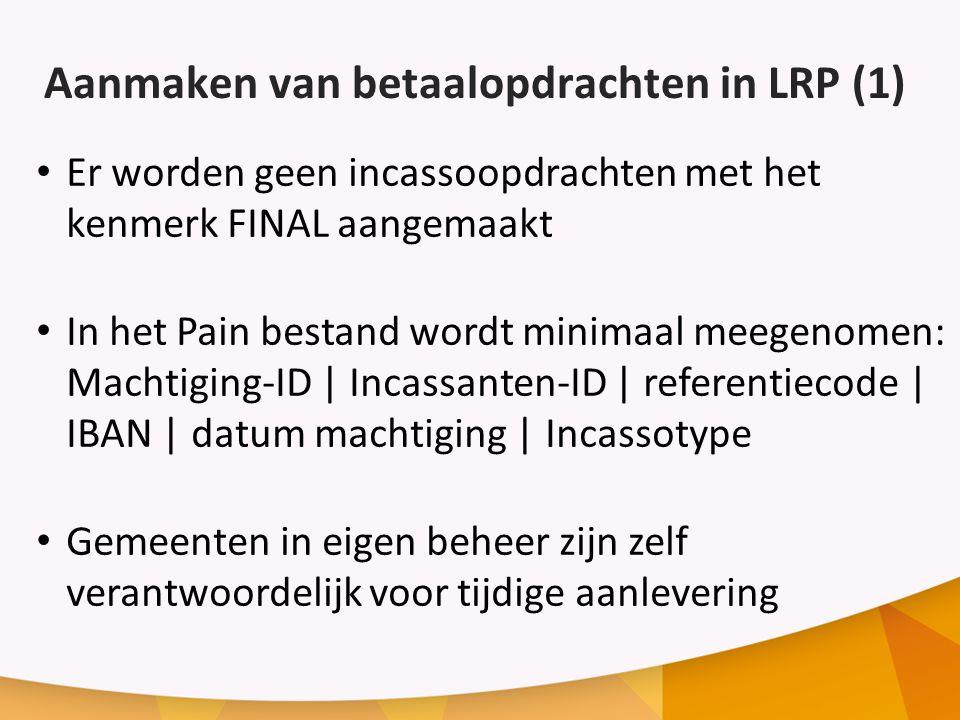 Aanmaken van betaalopdrachten in LRP (1)