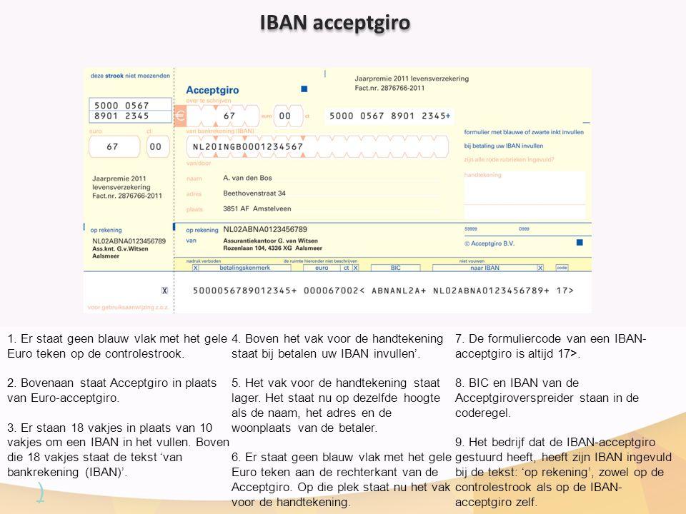 IBAN acceptgiro 1. Er staat geen blauw vlak met het gele Euro teken op de controlestrook.
