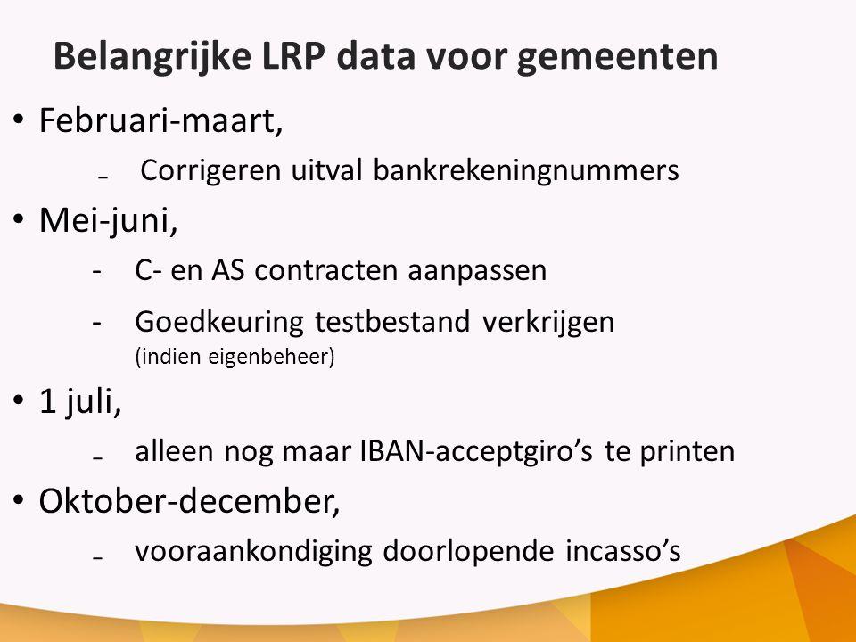 Belangrijke LRP data voor gemeenten