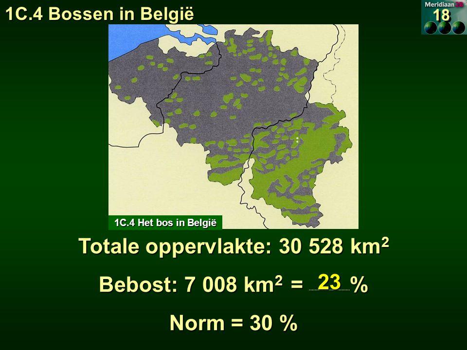 Totale oppervlakte: 30 528 km2 Bebost: 7 008 km2 = ………………………………%
