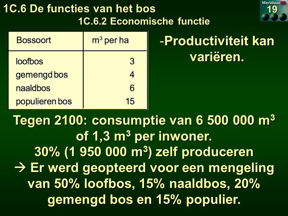 Productiviteit kan variëren. Tegen 2100: consumptie van 6 500 000 m3