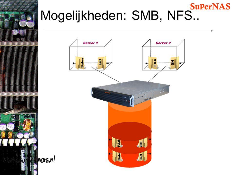 Mogelijkheden: SMB, NFS..
