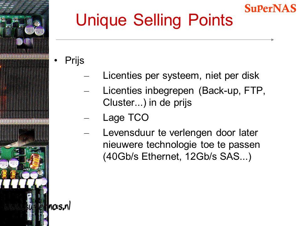 Unique Selling Points Prijs Licenties per systeem, niet per disk