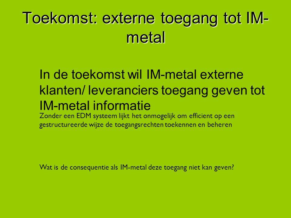 Toekomst: externe toegang tot IM-metal