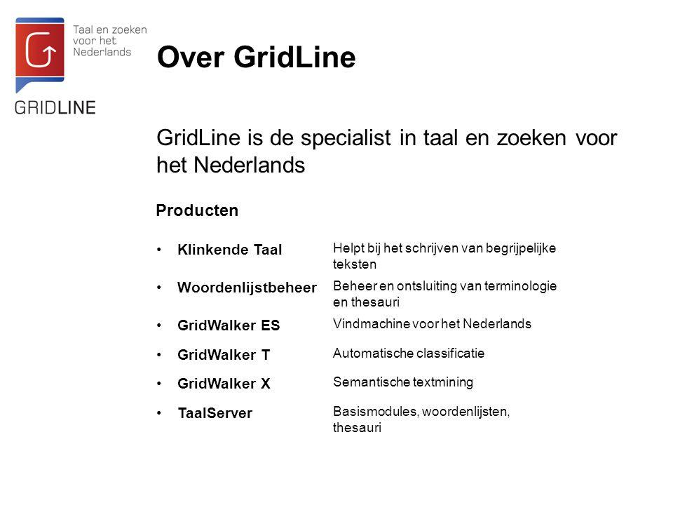 Over GridLine GridLine is de specialist in taal en zoeken voor het Nederlands. Producten. Klinkende Taal.