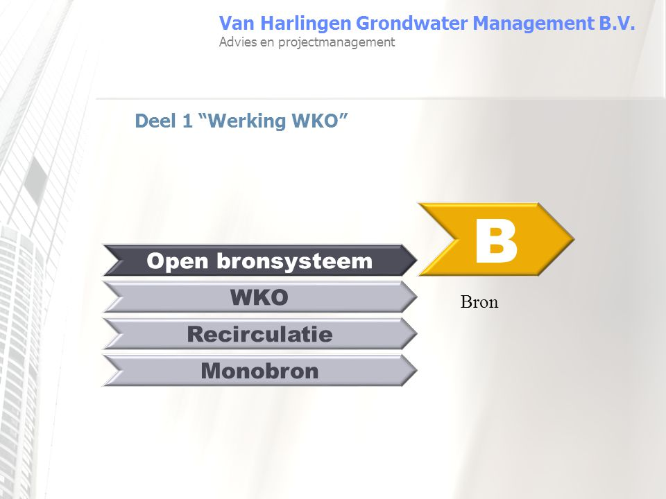 B Open bronsysteem WKO Recirculatie Monobron