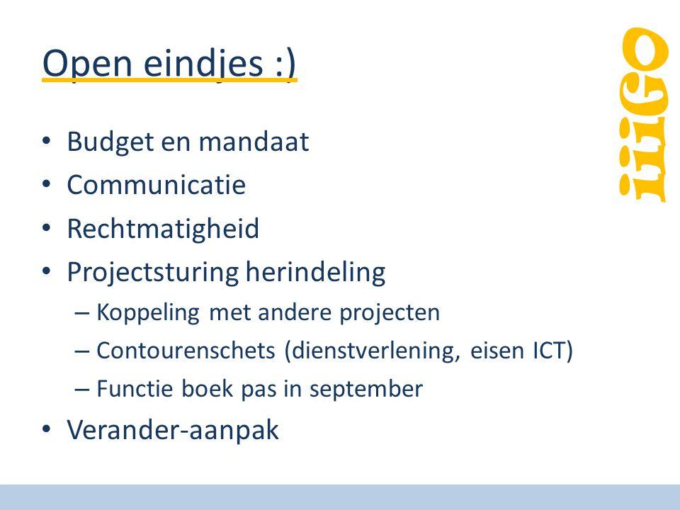 Open eindjes :) Budget en mandaat Communicatie Rechtmatigheid