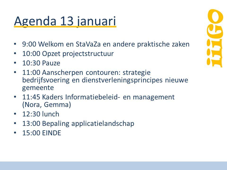 Agenda 13 januari 9:00 Welkom en StaVaZa en andere praktische zaken