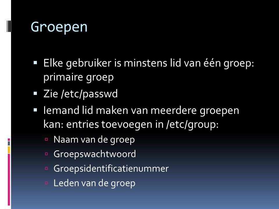Groepen Elke gebruiker is minstens lid van één groep: primaire groep