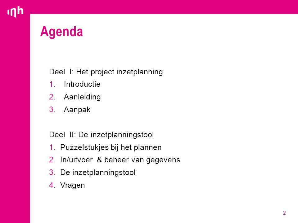 Agenda Deel I: Het project inzetplanning Introductie Aanleiding Aanpak