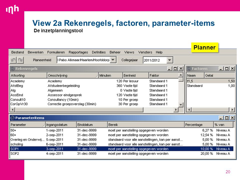 View 2a Rekenregels, factoren, parameter-items De inzetplanningstool