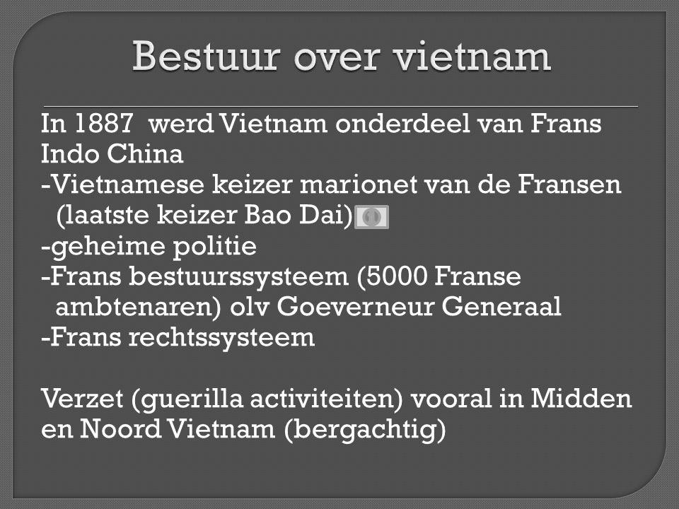 Bestuur over vietnam In 1887 werd Vietnam onderdeel van Frans