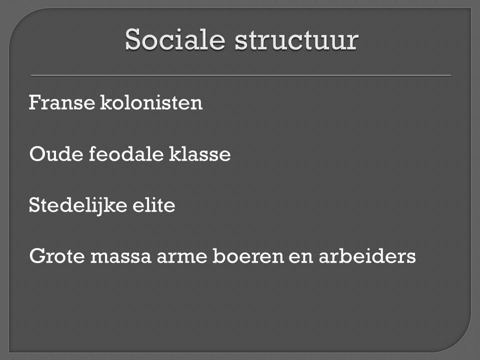 Sociale structuur Franse kolonisten Oude feodale klasse Stedelijke elite Grote massa arme boeren en arbeiders