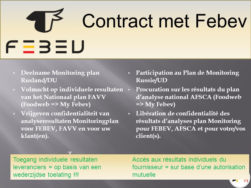 Contract met Febev Deelname Monitoring plan Rusland/DU