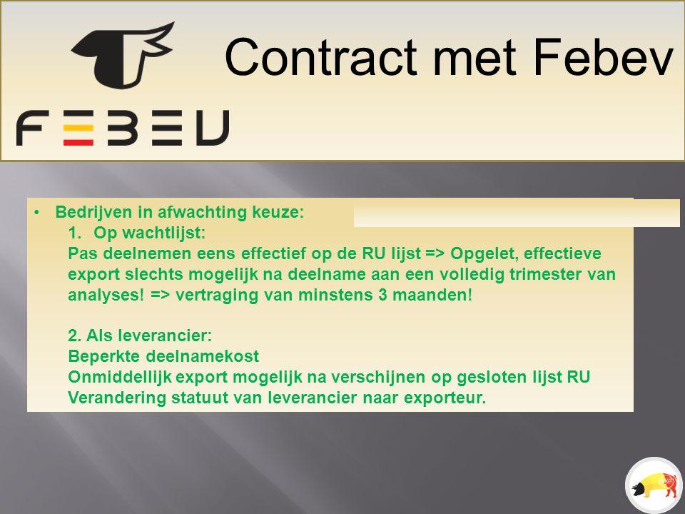Contract met Febev Bedrijven in afwachting keuze: Op wachtlijst: T