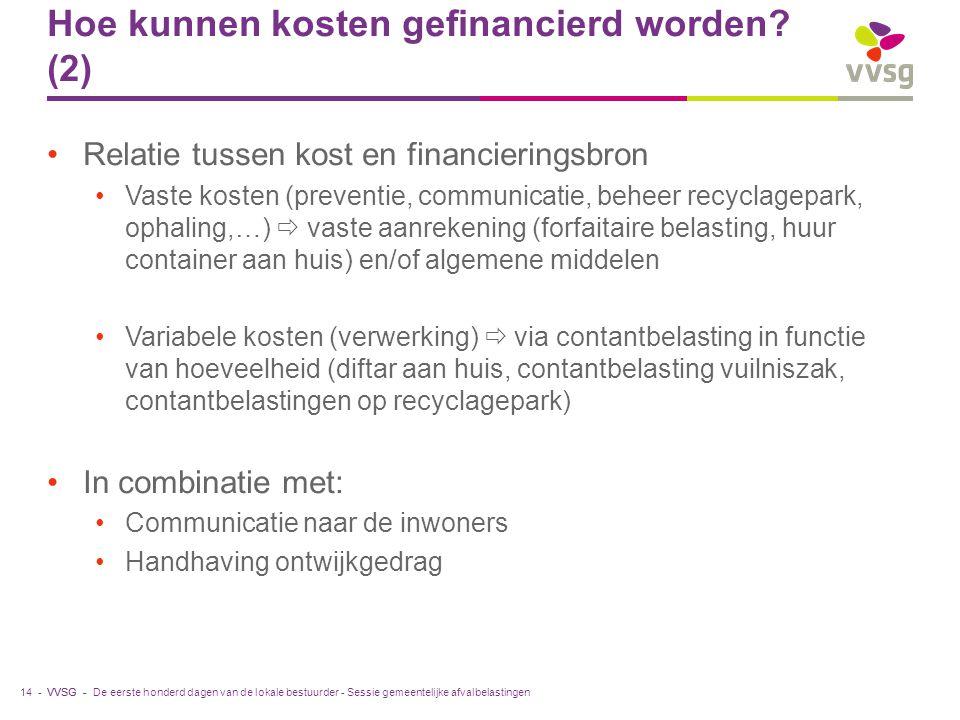 Hoe kunnen kosten gefinancierd worden (2)