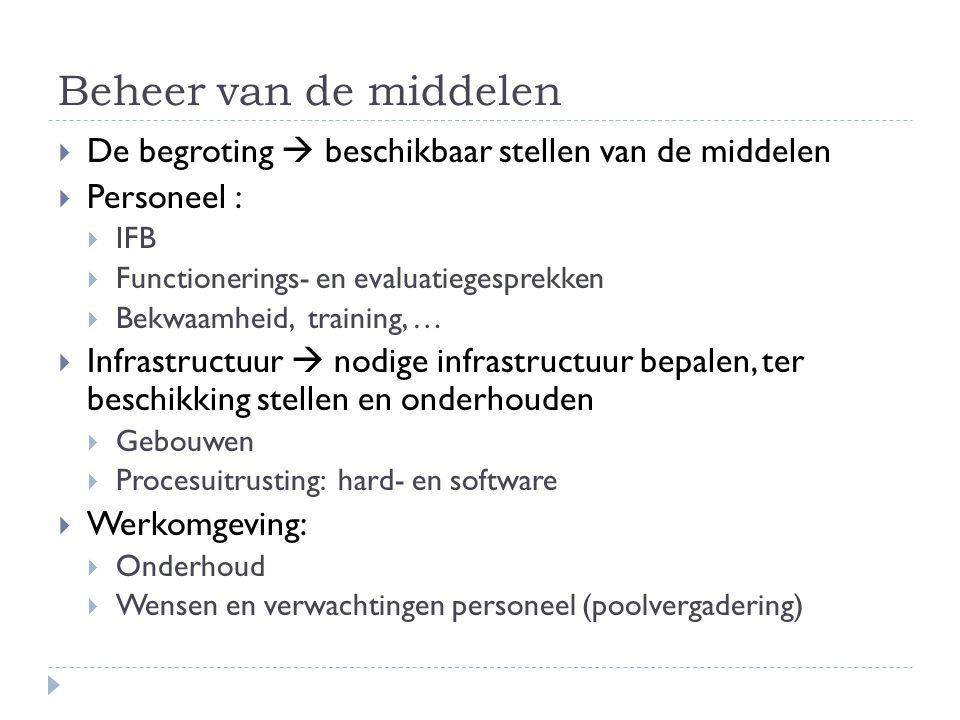 Beheer van de middelen De begroting  beschikbaar stellen van de middelen. Personeel : IFB. Functionerings- en evaluatiegesprekken.