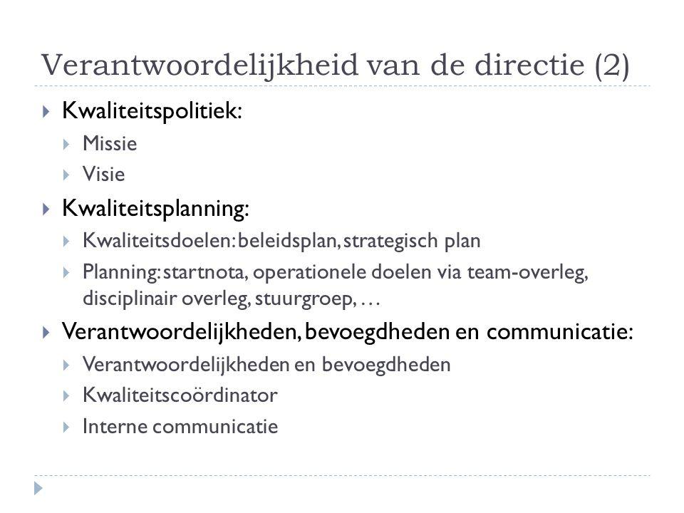 Verantwoordelijkheid van de directie (2)