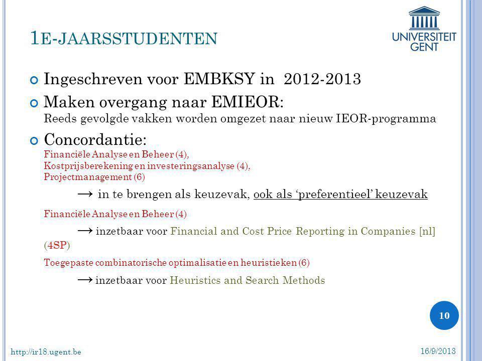 1e-jaarsstudenten Ingeschreven voor EMBKSY in 2012-2013