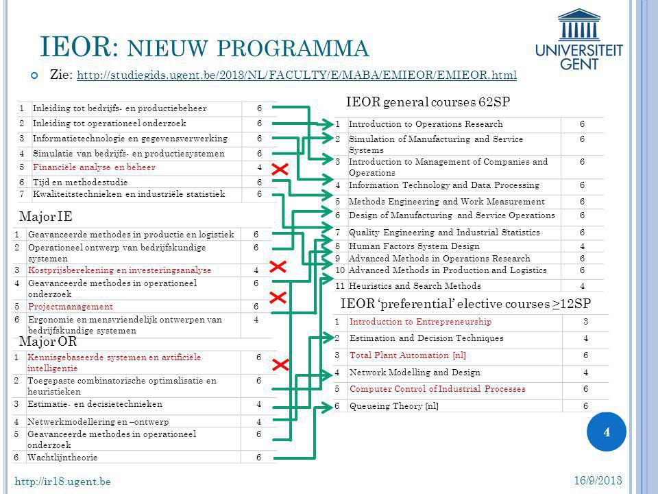 IEOR: nieuw programma Zie: http://studiegids.ugent.be/2013/NL/FACULTY/E/MABA/EMIEOR/EMIEOR.html. IEOR general courses 62SP.