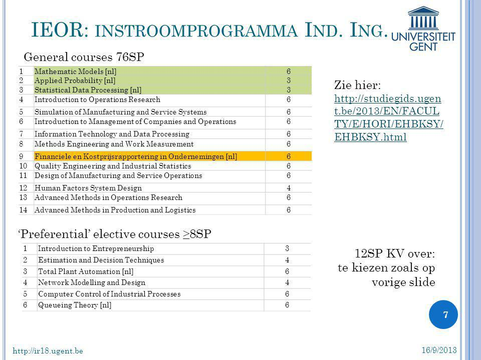 IEOR: instroomprogramma Ind. Ing.