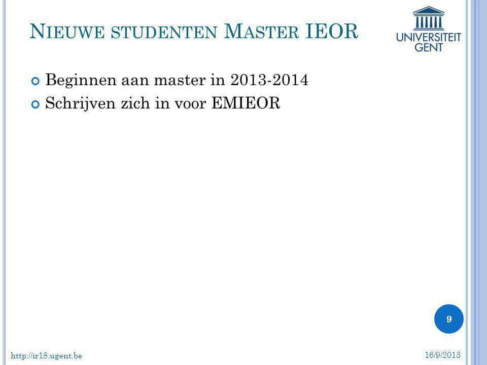 Nieuwe studenten Master IEOR