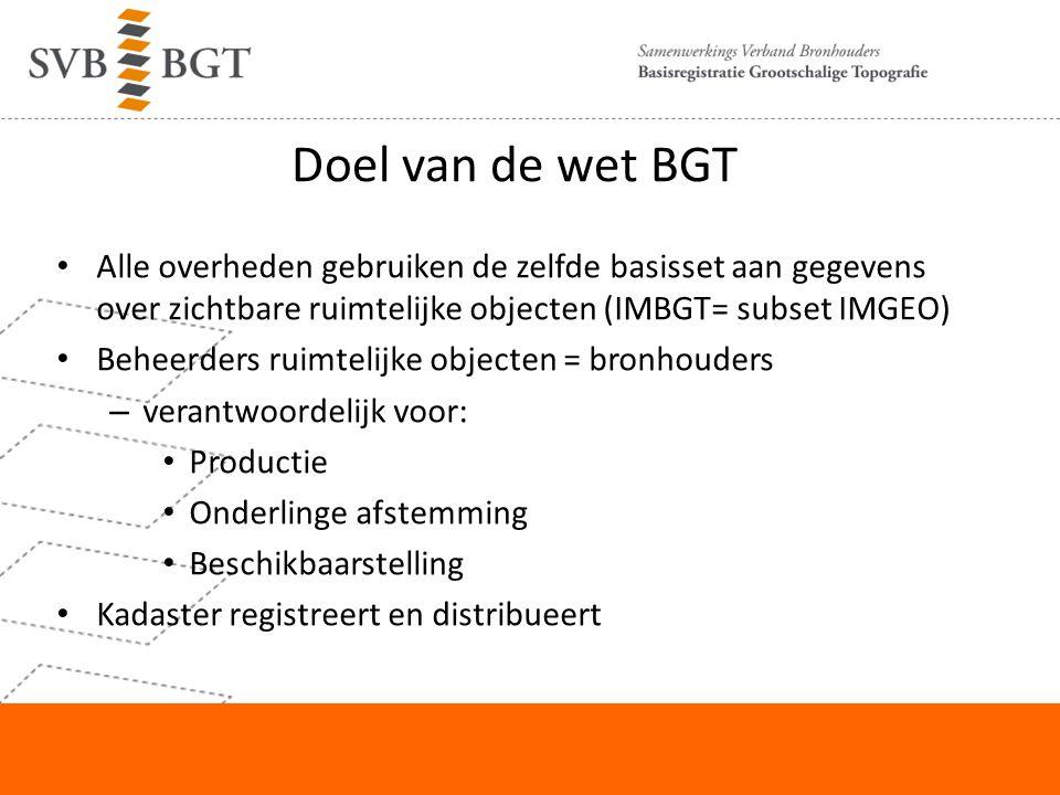Doel van de wet BGT Alle overheden gebruiken de zelfde basisset aan gegevens over zichtbare ruimtelijke objecten (IMBGT= subset IMGEO)