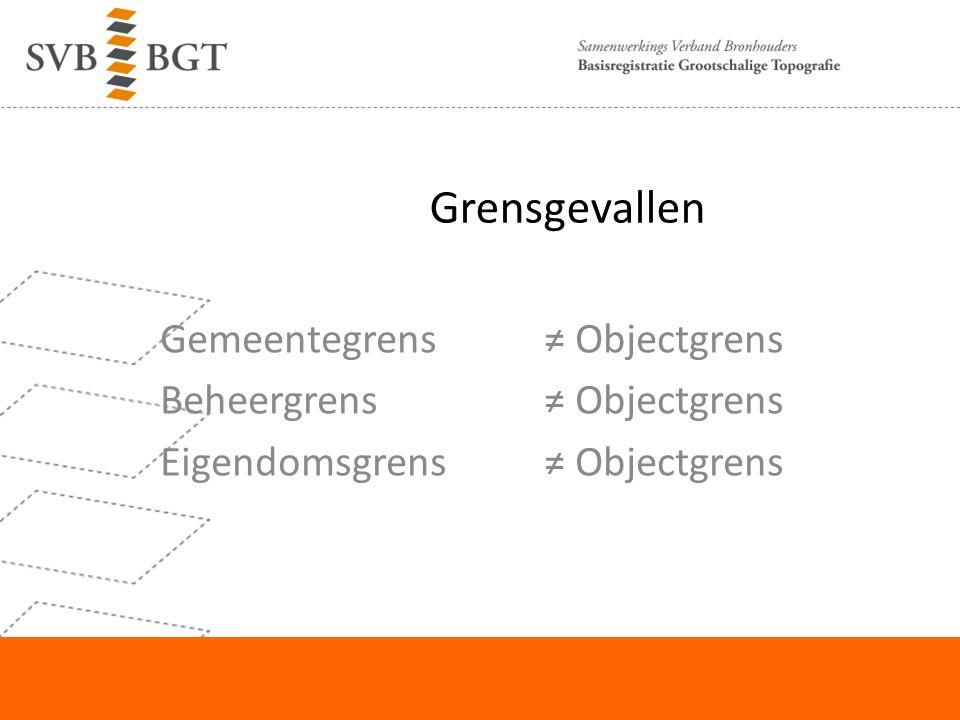 Grensgevallen Gemeentegrens ≠ Objectgrens Beheergrens ≠ Objectgrens Eigendomsgrens ≠ Objectgrens Nedgraphicsdag 18 september 2012.